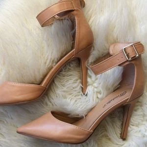 Stiletto ankle strap nude heels